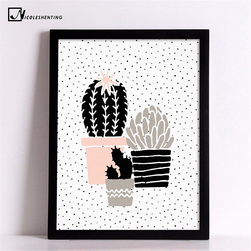 Cartoon Plant Cactus Poster Prints Minimalist Wall Art Canvas ...
