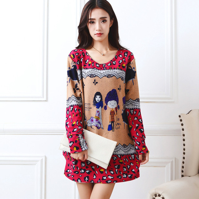 New 2018 Antumn Winter Fashion Women Long Sleeve Dresses Plus Size