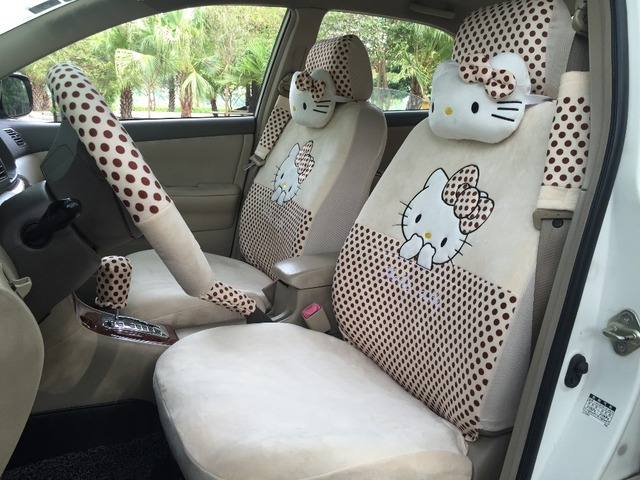 18 PCs Hello Kitty Beige Brown Polka Dot Car Seat Covers Steering Wheel Cover For Winter