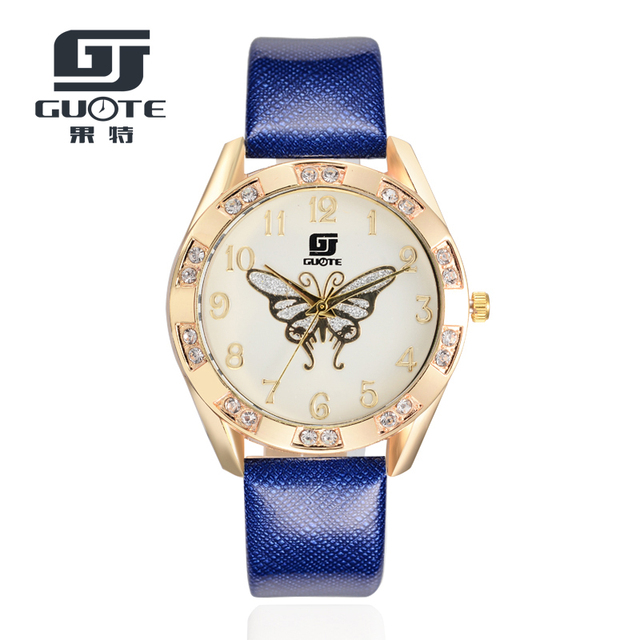 GUOTE New Butterfly Women Watches 2016 Brand Luxury Rose Gold Round Fashion Popu