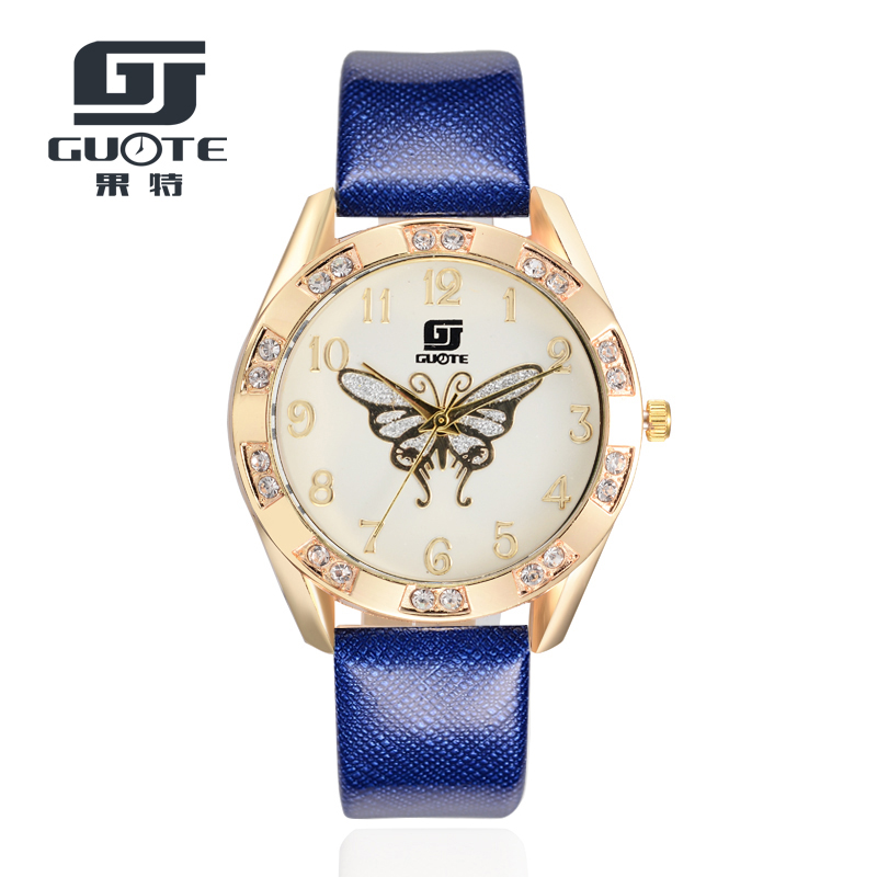 GUOTE New Butterfly Women Watches 2020 Brand Luxury Rose Gold Round Fashion Popular Wristwatch Female Quartz Watch Women Watch