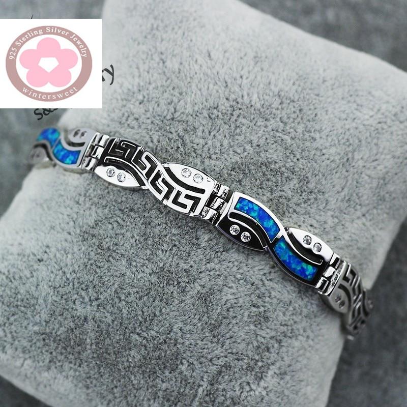 SZ0067  2016 Fashion Bracelets Chinese Pattern Blue Opal Gem Charm Bracelets For Women 925 Stamped Silver Bracelets & Bangles