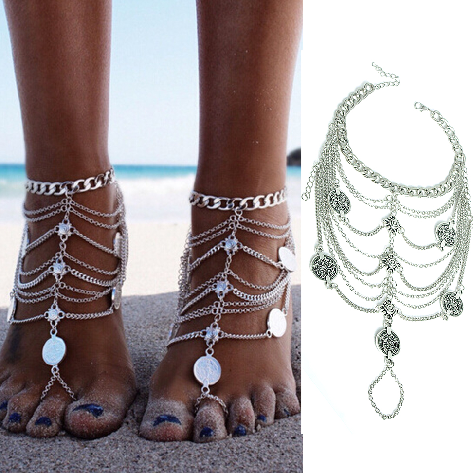Jewelry Sets & More Kleeder Foot Chain Ankle Bracelet Tassel Coin Anklet Toe Crochet Barefoot Sandals Beach Jewelry To Win A High Admiration And Is Widely Trusted At Home And Abroad.