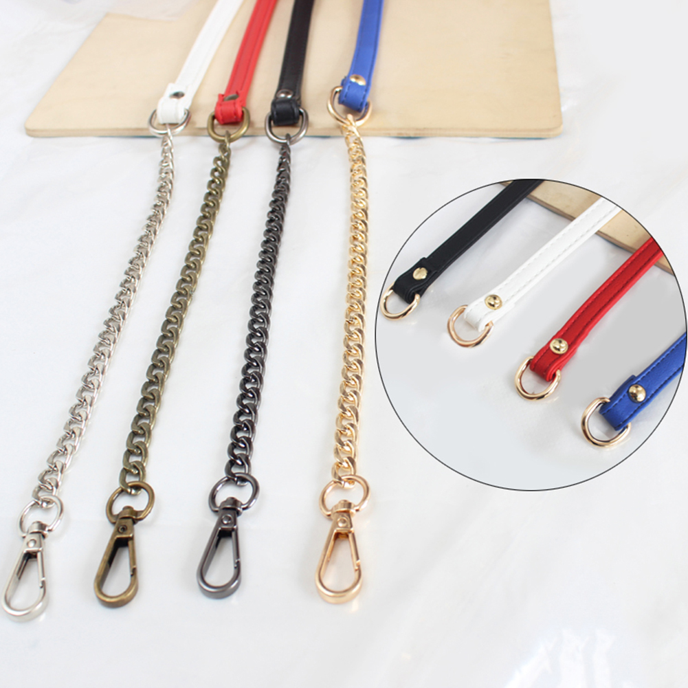 120cm PU Leather Bag Belts With Metal Chain For Shoulder Bag DIY Replacement Handbag D Buckle Bag Strap Handles Bag Accessories