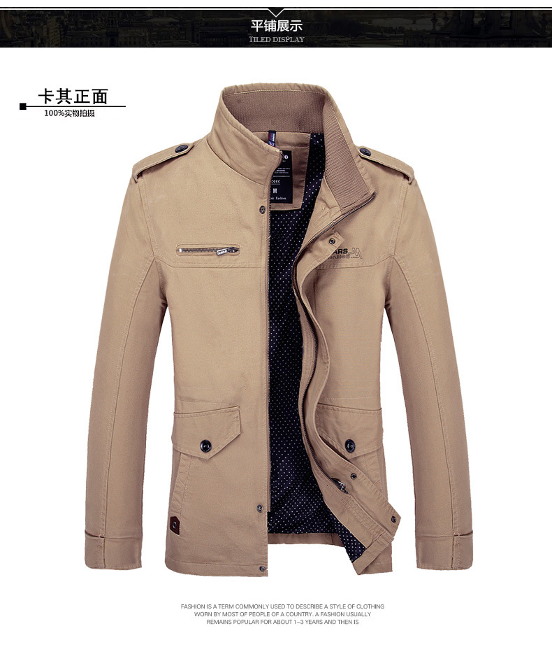 2016 Newest Men Spring And Autumn Coat Clothing Jacket Fashion Mandarin Collar Long Sleeve Casual Jacket