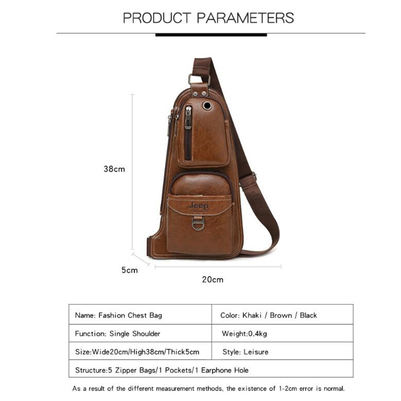 Luggage & Bags Men's Bags Jeep Buluo Brand Men Chest Bags 2 Pcs Set Summer Travel Sling Bag For Man Split Leather Corssbody Bag High Quality Male Bags Fine Quality