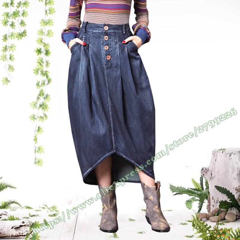 2018 mode rétro Vintage rue décontracté asymétrique plis bourgeon enveloppement de crayon femme Denim Jeans longues dames jupes femmes
