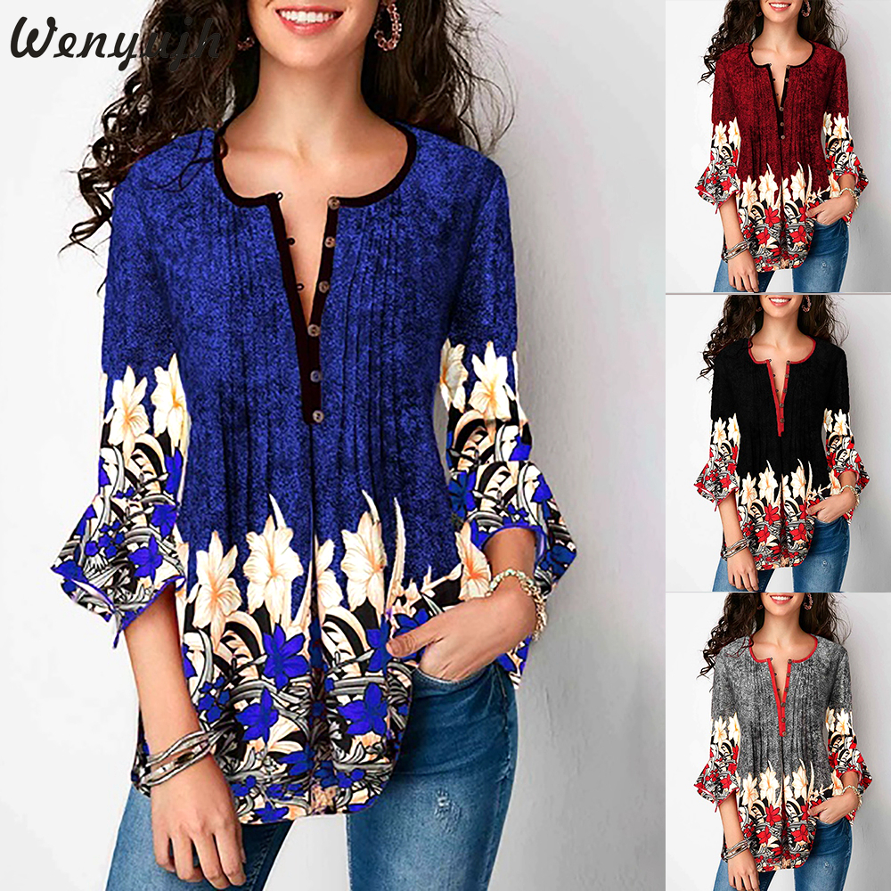 Wenyujh Blouses Women Casual Seven-quarter Lotus Sleeve V-neck Printed Button Blouse Shirts 2019 New Autumn Femme Tops Plus Size