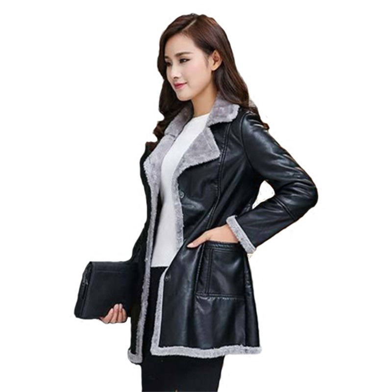 Autumn and winter fashion women's new PU   leather   flocking sheep lamb large code long paragraph warm jacket AL7847