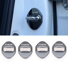 Stainless steel Car Accessories door lock buckle protector cover trim sticker for Honda CIVIC 2016 2017 2018 2019 car styling car door lock screw protector cover waterproof antirust for honda civic 2016 2017 2018 car accessories