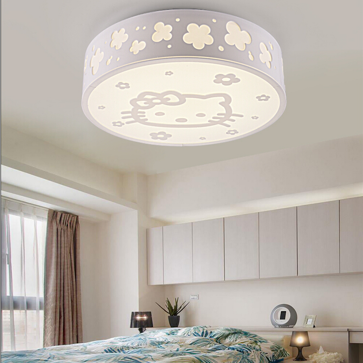 Children's room ceiling lamp Kitty cat light girl boy bedroom lamp ketty cartoon light 24W led ceiling lights 3 color change creative lovely cartoon moon and rabbit ceiling lamp smd led electrodeless dimmable light study children boy girl room bedroom
