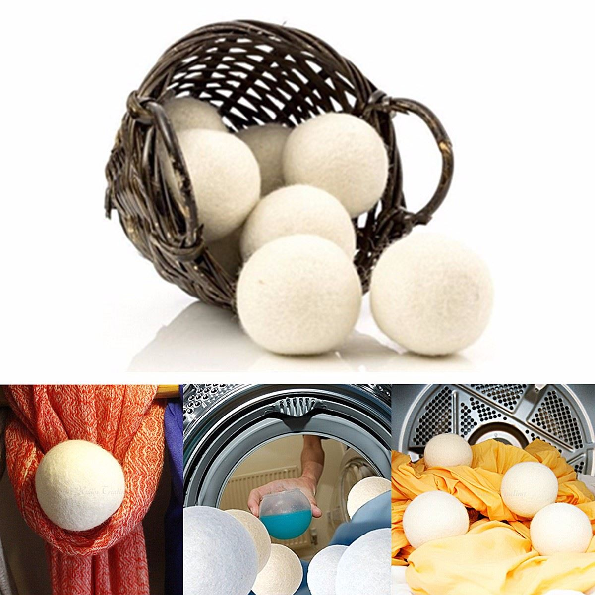 Wool-Dryer Ball Softener Laundry-Fabric Organic Reusable Premium Natural 6pcs/Pack