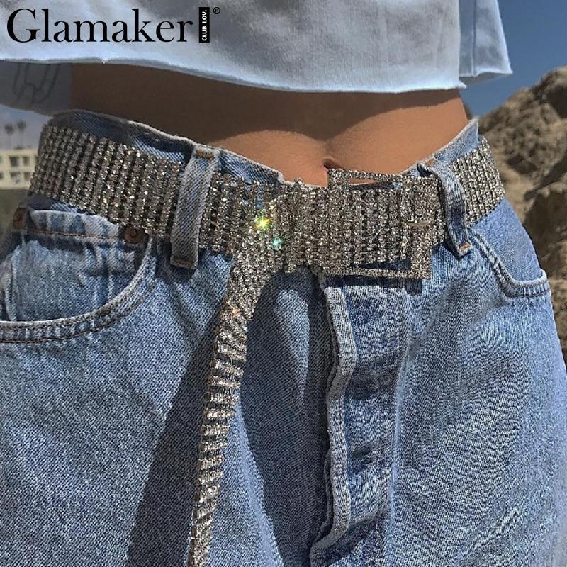 Glamaker Silver Shiny Rhinestone Diamond Sexy Belts Cummerbund Party Women Belt Sash Luxury Belt Waist Accessories Fashion 2018