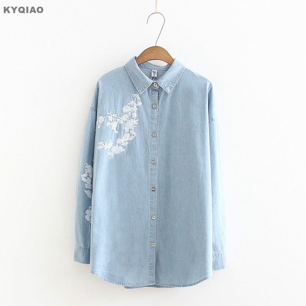 Women's Clothing Kyqiao Vintage Denim Shirt 2019 Women Autumn Winter Loose Japanese Style Fresh Long Sleeve Cat Embroidery Denim Blouse