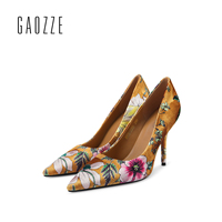 GAOZZE 2017 autumn new sexy pointed toe high heels pump shoes women floral fashion high heels shallow mouth women shoes
