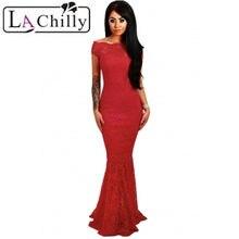 8a1a34fa0a6 La Chilly 2018 Robe Longue Elegante Partei Mermaid Bodycon Kleider Rot  Bardot Spitze Fishtail Maxi Kleid lange Abendkleid LC6148.