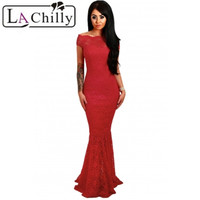 2017 Summer Dress Sexy Elegant Party Pencil Bodycon Dresses Short Sleeve Red Bardot Lace Fishtail Maxi