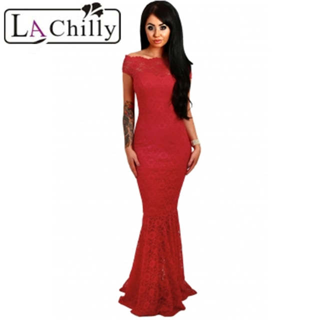 cd9c61ab85 Online Shop La Chilly 2018 Robe Longue Elegant Party Mermaid Bodycon Dresses  Red Bardot Lace Fishtail Maxi Dress long Evening Gown LC61481