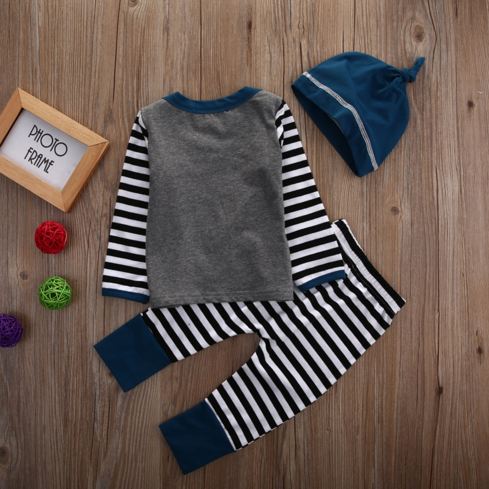 3pcs suit !!Newborn Toddler Kids Baby Boys Girls Outfits Clothes T-shirt Tops+Long Pants +hat striped clothes set