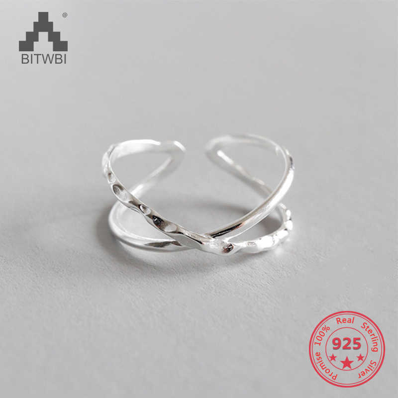 100% 925 Sterling Silver Geometric Simple Personality X-Shaped Dark Pattern Manual Opening Ring