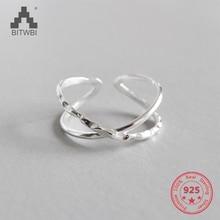 все цены на 100% 925 Sterling Silver Geometric Simple Personality X-Shaped Dark Pattern Manual Opening Ring онлайн
