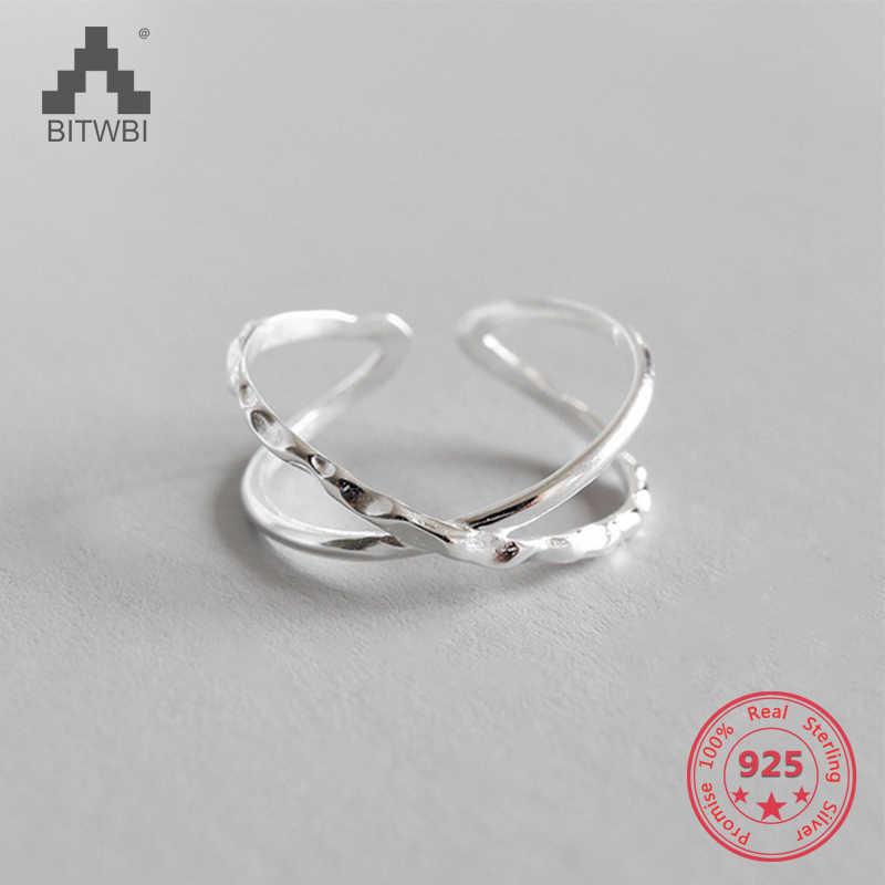 100% 925 пробы Серебряное геометрическое простое индивидуальное x-образное кольцо с темным узором ручное открытие