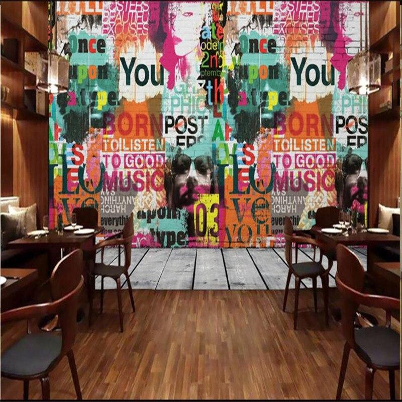 Customize Size Mural Wallpaper Background Hollywood Star Graffiti Alphabet Restaurant Home Decor