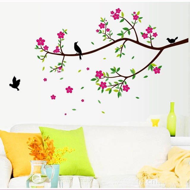 Beautiful flowers decoration wall stickers for hall bedroom tv backdrop decorative wall wall stickers home decor