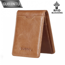 GUBINTU Purses Men's Genuine Leather Wallet Slim Front Pocket Men Walets Card Case with RFID Blocking Purse Carteira цена и фото