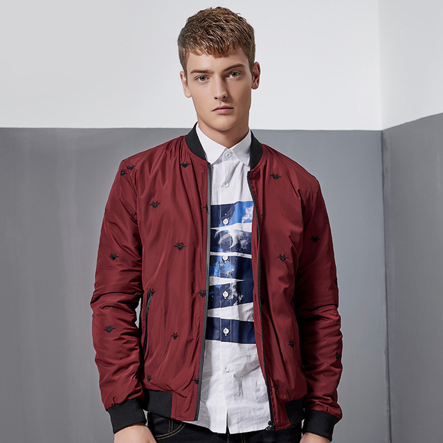 Men's Jacket 2017 New Long Sleeve Stand Collar Slim Fit Spring Autumn Casual Embroidery  Coats Plus Size 4XL C764