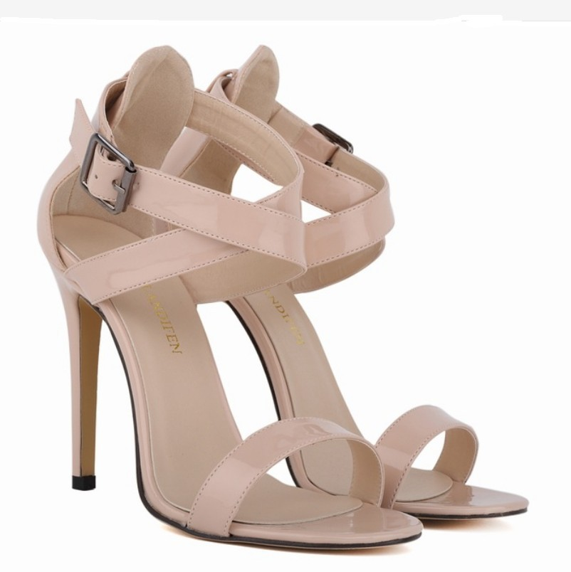 13 color plus size 40-42 summer patent leather sandals hollow candy neon green color ankle strap wedding dress pumps high heels