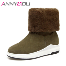 ANNYMOLI Women Snow Boots Fur Winter Mid-Calf Boots Platform Wedges Boots Med Heel Warm Shoes 2017 Handmade Shoes Large Size 44