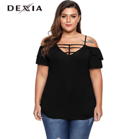 DEXIA Black T Shirt Women Summer Off Shoulder Tops Short Sleeve Cotton Backless Female Hollow Out