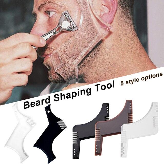 1 pieza peine de estilismo de barba para hombres barbas transparente negro recortadora plantilla todo en uno herramientas para el cabello