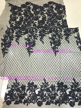 xx001-1 # black sequin new fashion show mesh tulle embroidery lace fabric for party/evening dress,