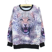 Fashion full Leopard printed sweatshirt for women long sleeve tracksuit 2015 novelty design girls tops pullovers low price(China)
