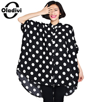 Black White Polka Dot Oversized Chiffon Blouse For Women 2016 Summer New Long Shirt Casual Loose