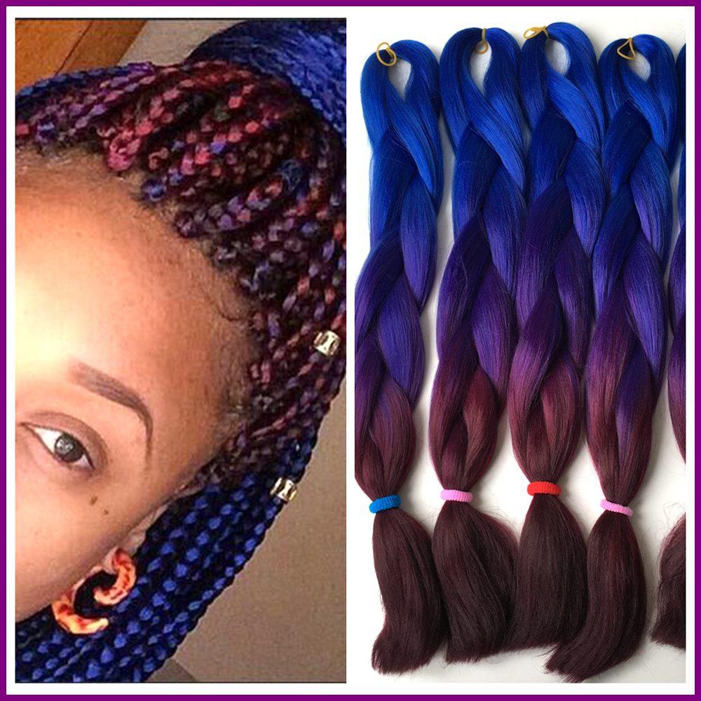 Free Shipping 5packs Ombre Braiding Box Hair 24 100g Blue Purple