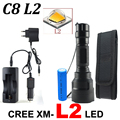 CREE C8 4000 lumens cree xml t6 L2 high power led flashlight +DC/Car Charger+2*18650 battery+Holster LED Torch Light Lamp