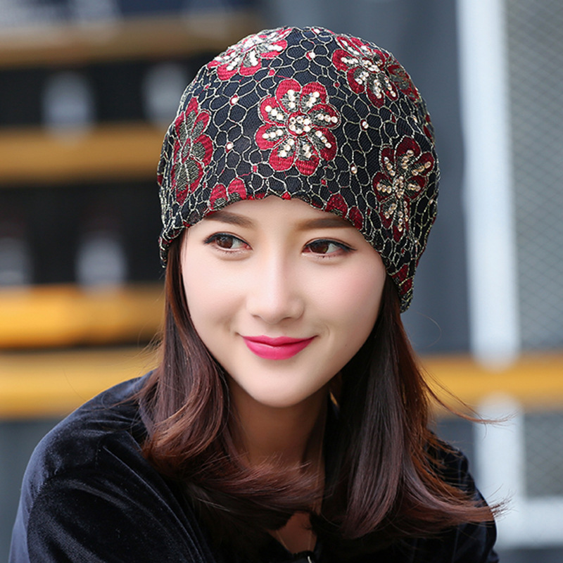 Fashion Pullover Women Hat Spring And winter Thin Ventilation girls Lace Cap Heap New beanies pearl and layered lace detail pullover