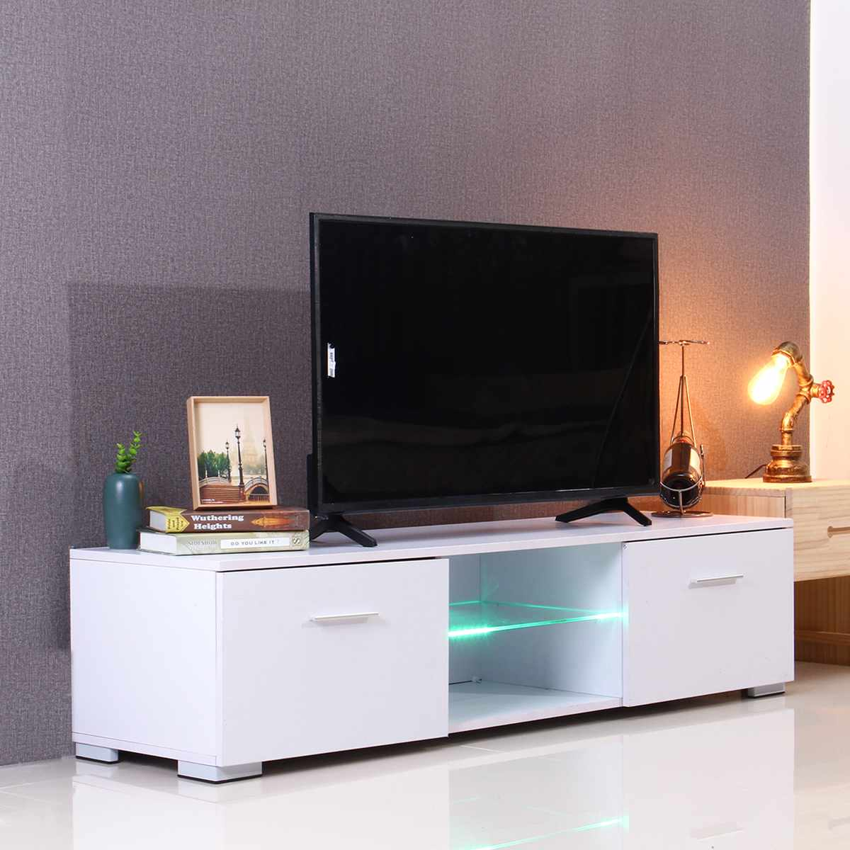 57 Inch Portable Detachable TV Stand Unit Cabinet Console With LED Light Shelves 2 Drawers For Living Room Black US Shipping