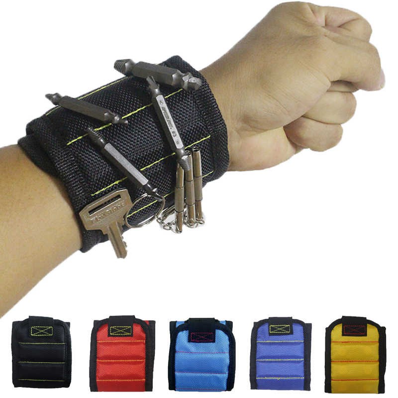 Geoeon five-row magnetic wristband with built-in powerful magnet, portable kit with screw attachment on the wrist A28