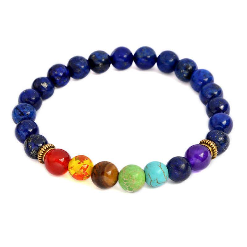 7 Chakra Bracelets Natural Stone Black Lava Beads Bracelet Women Men Balance Yoga Jewelry pulseira feminina Buddha Prayer
