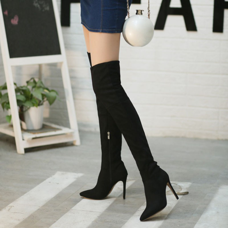 New Women/'s Wedge Heel Nubuck Zipper Flower Over The Knee Long Boots Shoes Size