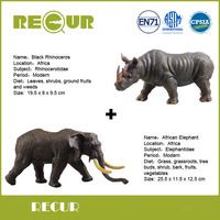 2 pcs/lot Recur Toys African Elephant+Rhinoceros Wild Animal Simulated Model Hand Painted Soft PVC Figures Toys Gift Collection