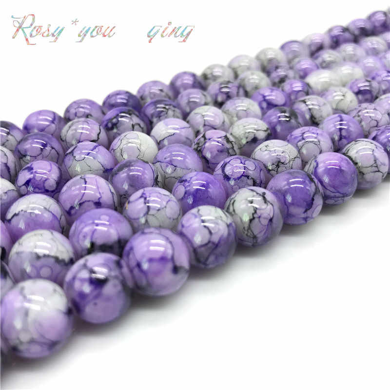 Wholesale 6 8 10mm  Exquisite  pattern glass bead spacer jewelry Bulk Beads For DIY Making Bracelet Necklace Jewelry #09