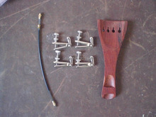 1 PC Rosewood Tail piece with 4 PCs Silver color Fine tuner & tail gut al 4/4