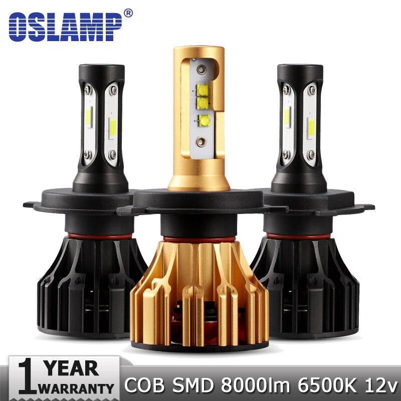 Oslamp H4 H7 llevó la bombilla del faro H11 H1 H3 9005 9006-Lo haz COB Chip SMD Auto faro niebla luces 12 V 24 V 8000lm 6500 K