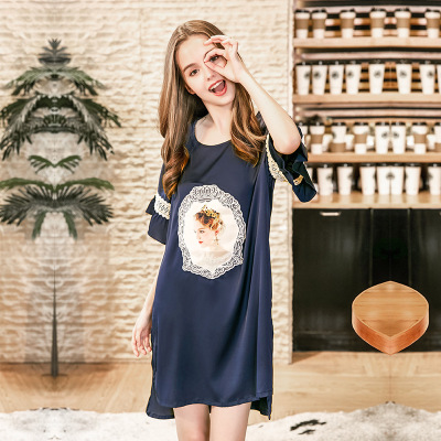 Fashion Women Satin Sleepshirts Summer Autumn Embroidery Nightgown Homewear Sexy Mini Sleepshirts Nightdress Elegant Sleepwear