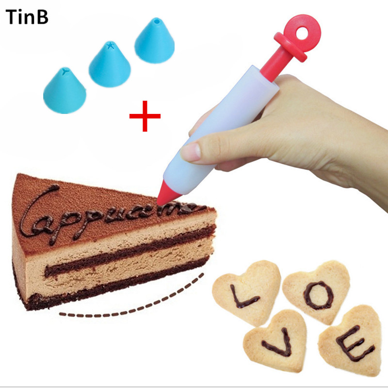 4PCS Food Writing Pen Cake Cookie Cream Pastry Chocolate Decorating DIY Tool